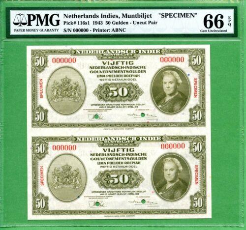 INDONESIA  50 GULDEN 1943   PMG 66 EPQ  SPECIMEN   P116S1  UNCUT PAIR    RARE