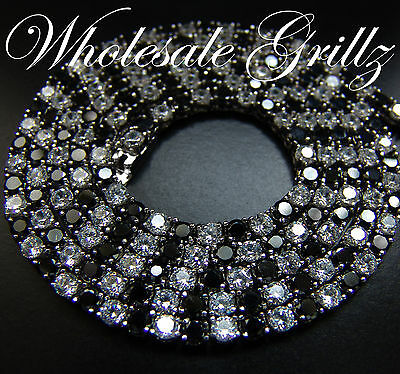 $299 Mens Black & White Simulate Diamond Hiphop Chain Custom Made Necklace