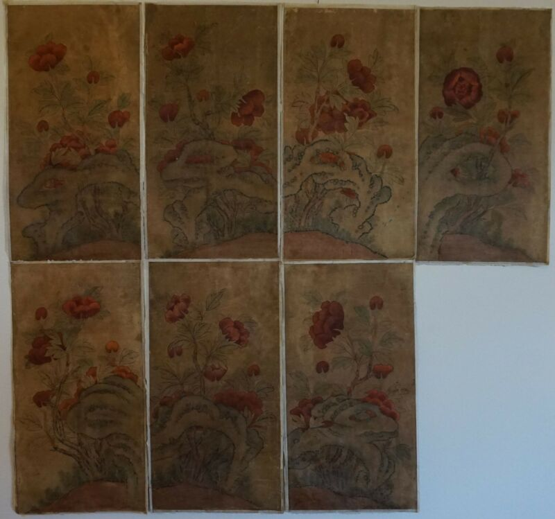 Very Fine Korean 19th Century Joseon Dynasty MinHwa MoRanDo 6 Panels