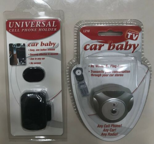 Car Baby Cell Phone Stereo Transmitter Adapter+Universal Holder Use in any Car!