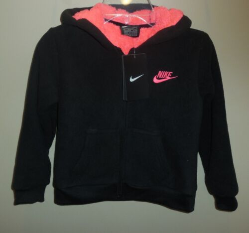 Nike Girls Size 6X Fleece Jacket Coat Black Pink New Hooded 36E405-023
