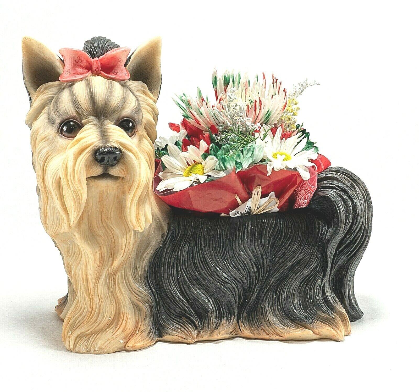 Yorkie Life-Like Planter Dog Hand Painted Poly Stone Beautiful High Quality Animals