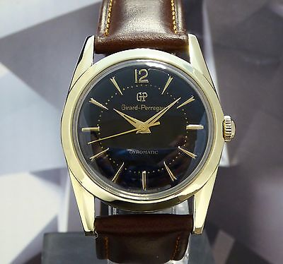 Vintage Men's Girard Perregaux Gyromatic Wristwatch 17 Jewels One Year Warranty