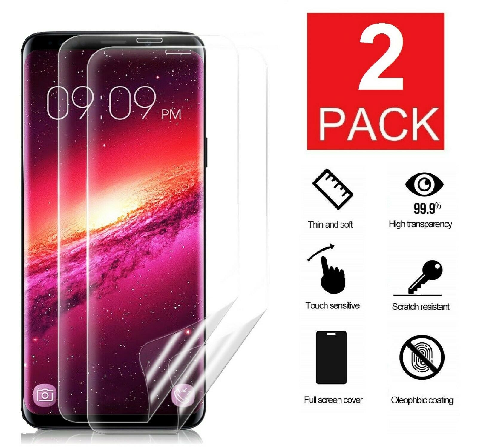 2-Pack For Samsung Galaxy S8 S9 S10 S10e Note 8 9 Screen Pro