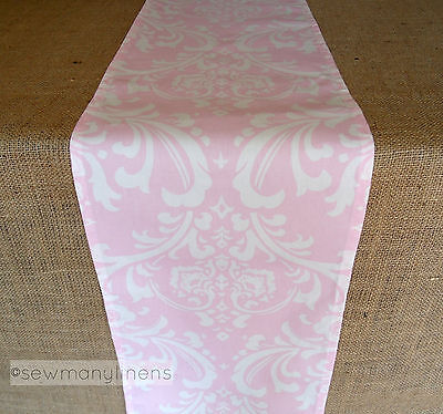 Pink Floral Table Runner Light Baby Pink Home Decor Linens Table - Pink Runner