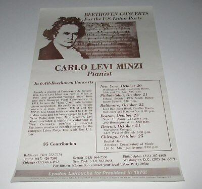 U.S. Labor Party : LaROUCHE For President 1976 Concert Poster  CARLO LEVI MINZI