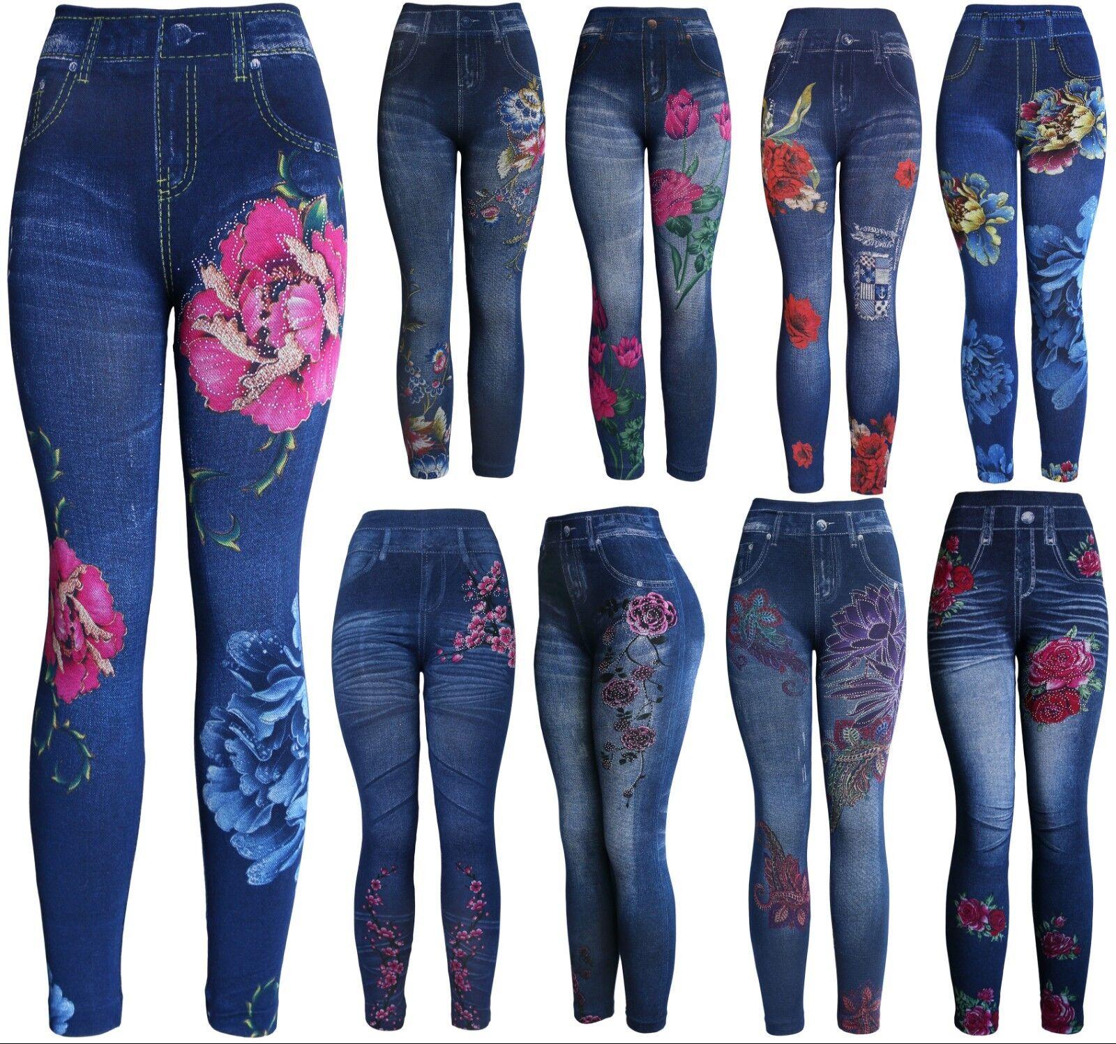 Wholesale/Bulk Lot 10 Pcs Women's Assorted Faux Denim Printed Leggings Clothing, Shoes & Accessories
