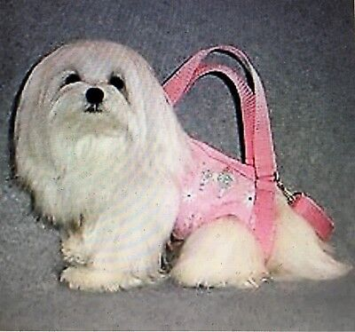 Pink white flannel dog images puppy purse dog pet carrier sling harness S,M,XXL