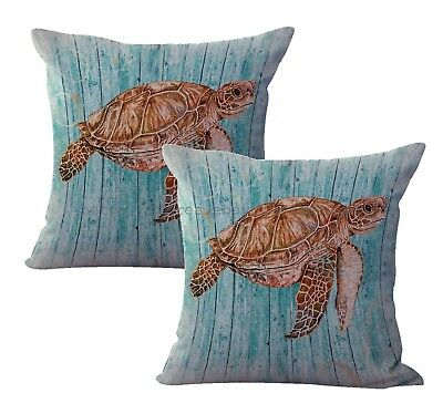 US Seller-2 pcs sea turtle nautical cushion cover throw pillow - Sea Turtle Pillow