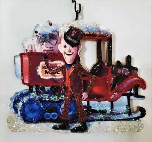 NORTH POLE MAILMAN, SANTA CLAUS is COMING to TOWN * Glitter CHRISTMAS ORNAMENT