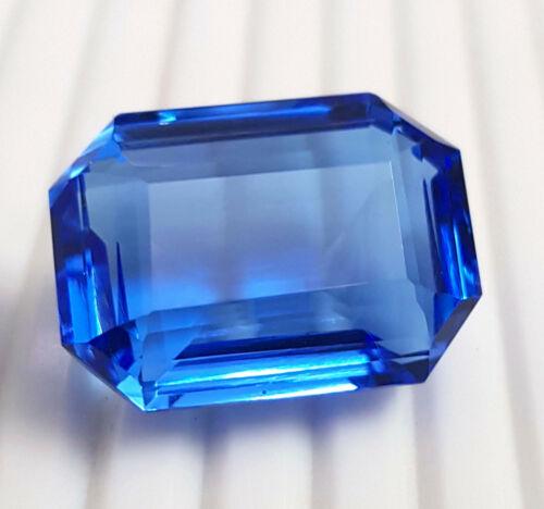 Beautiful 56.85 Ct Bright Blue Topaz Emerald Shape Loose Gemstone !!!