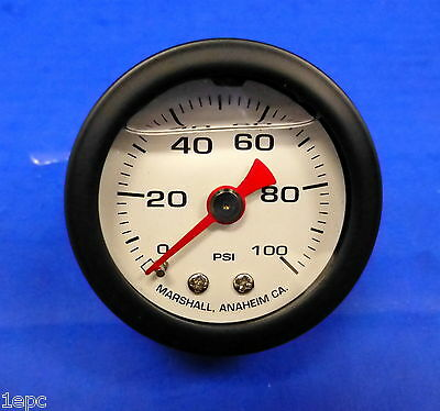 Marshall Gauge 0-100  PSI Fuel Oil Gas Pressure White Black Casing 1.5