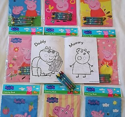 (Peppa Pig Coloring Book Crayon Set Childs Birthday Party Favors Bag Fillers)
