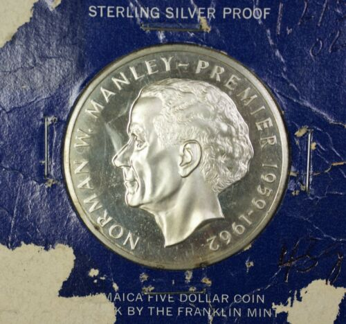 1973 Jamaica $5 Norman W. Manley- Premier 1959-1962 Sterling Silver Coin