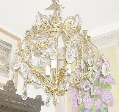 Reduced!! Fabulous Embossed Brass&Crystal  Chandelier Nashville Architect. -