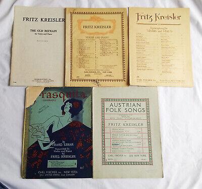VintageLot of 5 Fritz Kreisler Violin & Piano Sheet music Carl Fischer, Inc.  Fritz Kreisler Violin