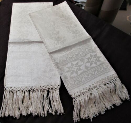 Fabulous Pr Antique Linen Damask Fringed Bath Towels Geometrics & Floral Stripes