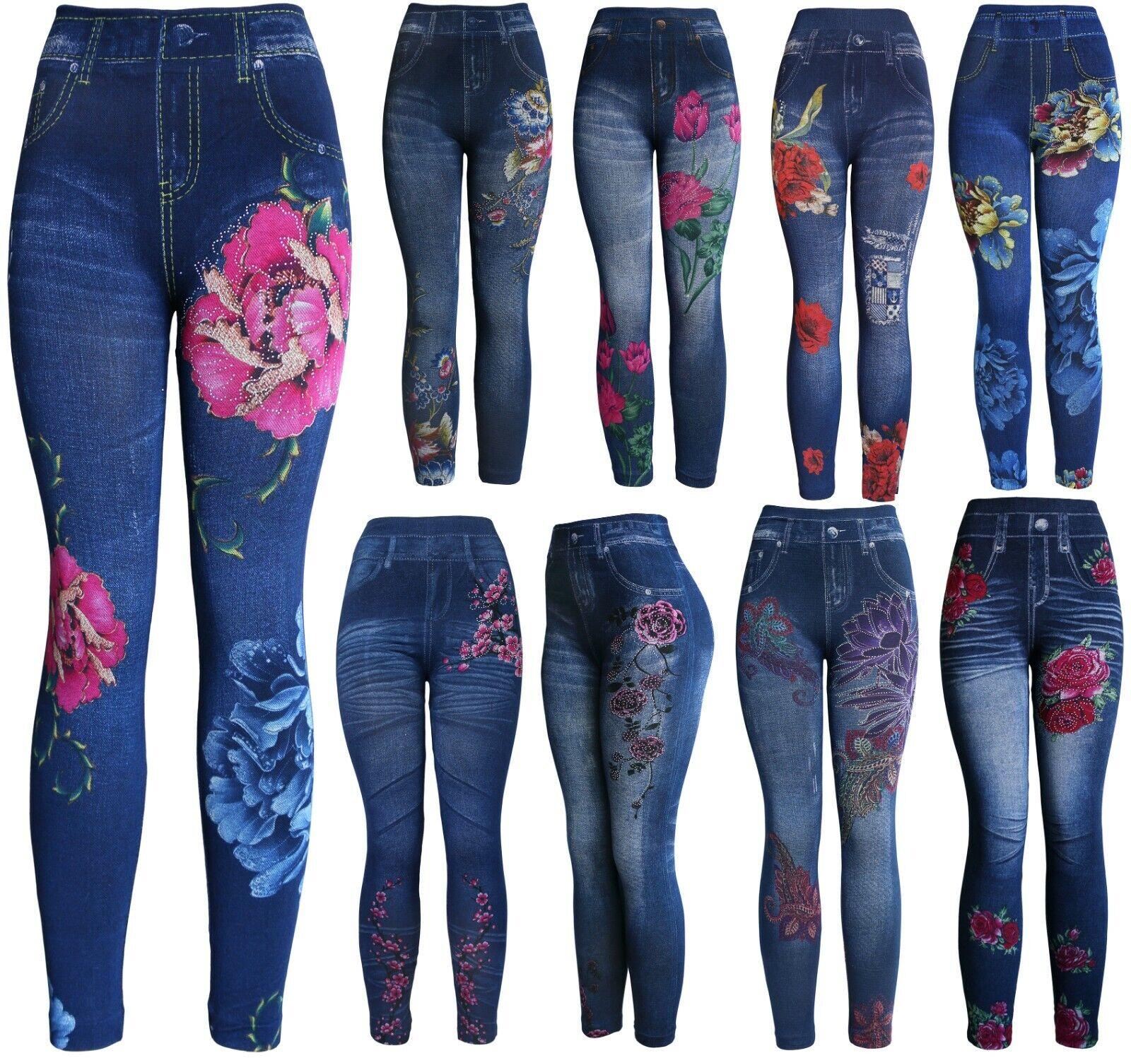 High Waist Women's Denim Print Fake Faux Jeans Leggings Pants Clothing, Shoes & Accessories