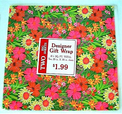 VINTAGE 1970's PINK & ORANGE DAISES GIFT WRAPPING PAPER 2 SHEETS PER PACK NOS
