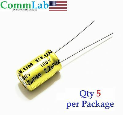 2.2uf 100v Non-polarized Electrolytic Radial Lead Capacitor Qty 5 Np Bp