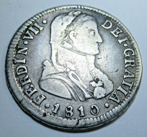 1810 FJ Santiago Chile Spanish Silver 2 Reales Piece of 8 Real Old Treasure Coin