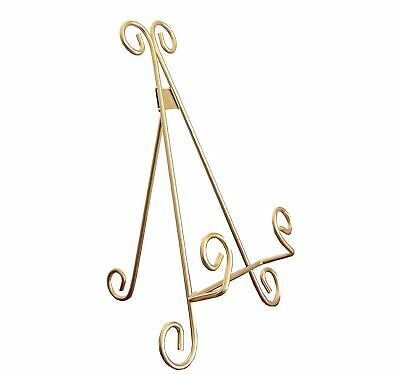 Maypes Heavy Duty Metal Artisan Curved Book Stand, Picture Frame Stand, Gold ()