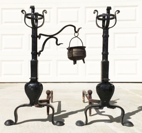BASKET TOP ANDIRONS, Vtg Antique Colonial Gothic Medieval Wrought Iron Fireplace