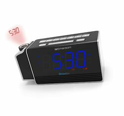 Emerson SmartSet Projection Alarm Clock Radio with USB Charging for Iphone/Ip...