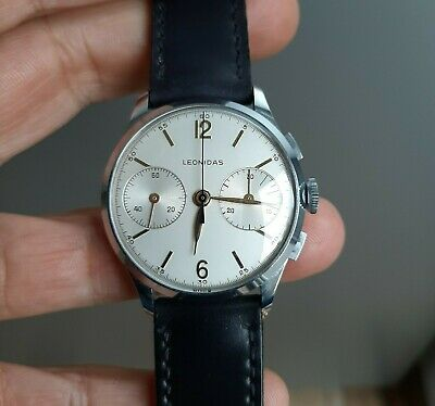 Vintage 1940's Pre-Heuer Leonidas Chronograph Watch Landeron Cal. 48 MINT