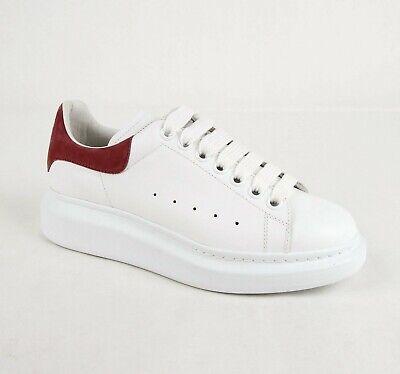 $575 Alexander McQueen Women's White Leather Platform Sneaker 38.5 462214 9091