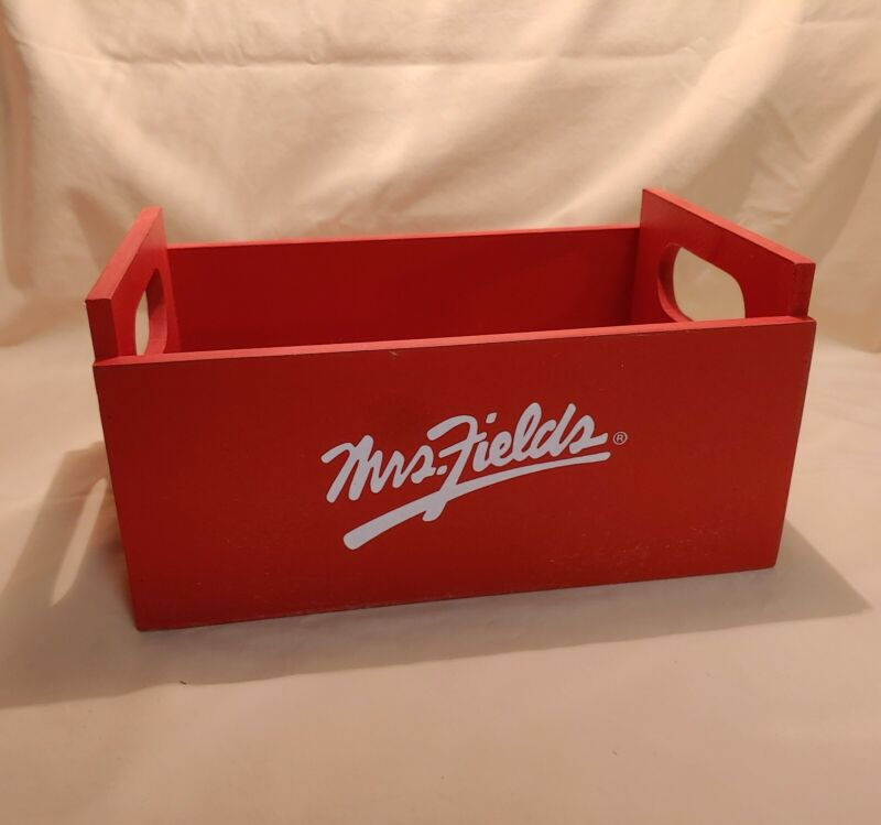 Mrs. Fields Red Wooden Cookie Storage Crate Box with Handles GUC