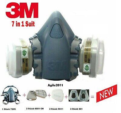 Atemschutzmaske Lackiermaske Partikelfilter 3M 7502 Halb Gas Staub Maske 7in1 A