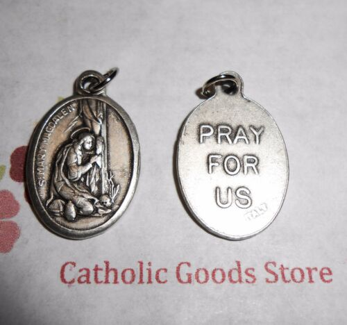 Saint St. Mary Magdalene - Italian Antique Silver tone OX 1 inch Medal