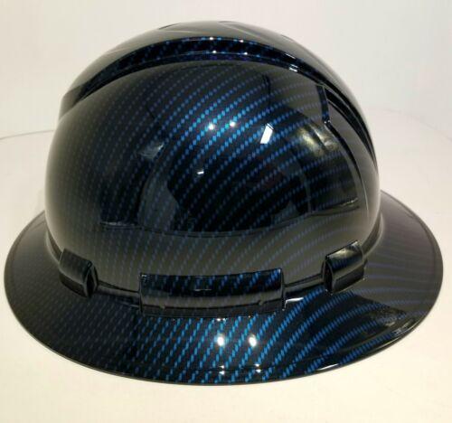 NEW FULL BRIM Hard Hat custom hydro dipped Deep blue candy carbon fiber sick  3