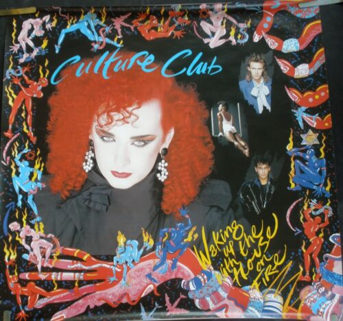 CULTURE CLUB WAKING UP WITH HOUSE ON FIRE 1984 VINTAGE MUSIC STORE PROMO POSTER