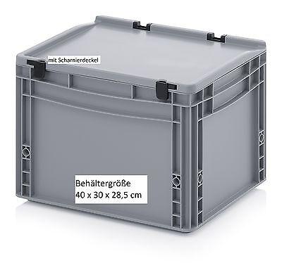 Stapelbare Behälter mit Deckel 400x300x285 stabile Lager Material Transportkiste