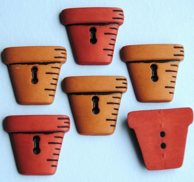TERRACOTTA PLANT POTS Planters Flowers Country Garden Dress It Up Craft Buttons