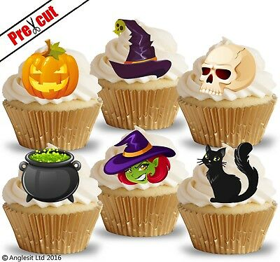 PRE-CUT HALLOWEEN MIX IV. EDIBLE WAFER PAPER CUP CAKE TOPPERS PARTY DECORATIONS