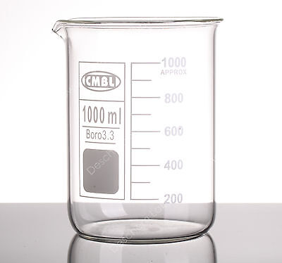 1000ml Glass Beaker1l Low Form Beakersborosilicate 3.3 Glassware