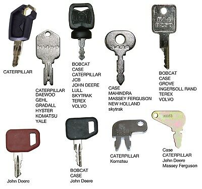 Heavy Equipment Key Set 9 Keys Cat Case John Deere Hitachi Hyster Komatsu Bobcat