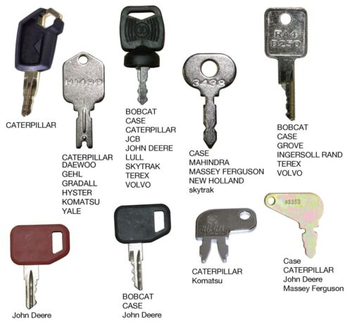 Heavy Equipment Key Set 9 Keys CAT Case John Deere Hitachi Hyster Komatsu Bobcat