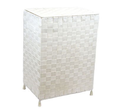 Arpan White Medium Nylon Folding Laundry Hamper Basket With Lid & Handle -9193W