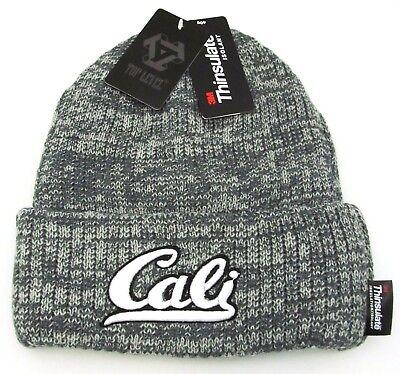CALI Cuff Beanie Skull Cap California Winter Hat Fleece Lining Adult OSFM NWT Fleece Skull Cap Hat