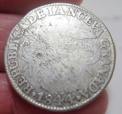 1844  Colombia  2 Reales  Silver  Republic Of Nueva Granada  Very Scarce