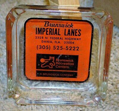 VINTAGE PYRO GLASS ADVERTISING ASHTRAY / BRUNSWICK IMPERIAL LANES DANIA FLORIDA