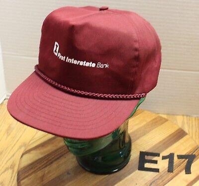 Vintage First Interstate Bank Hat Burgundy Zip Strap Adjustable Vgc E17