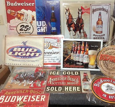 Budweiser Beer Sign Anheuser Busch Light Vintage Tin Garage Bar Decor Old Rustic