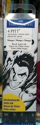 4pc Faber-Castell 4 PITT Artist Pens ~MANGA/BLACK~ (XS, S, F & B)Black India Ink