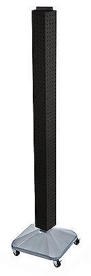 New Black Interlocking Pegboard Display With Square Wheeled Base 4 X 4 X 60