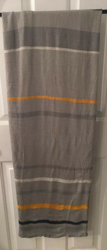Lufthansa Airlines Gray Yellow Blue Striped Throw Blanket EUC